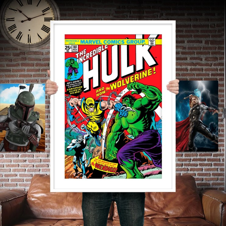 Classic Hulk Cover with Wolverine First Appearance - Comic Book Cover Boys Geek kids man cave nerds bedroom office nursery superhero