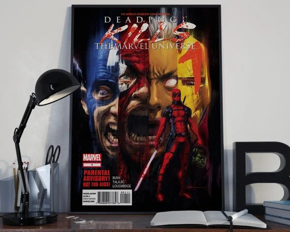 Deadpool 6 Classic Comic Book Cover Art Cover for the Big Boys Geek man cave nerds bedroom office kids superhero