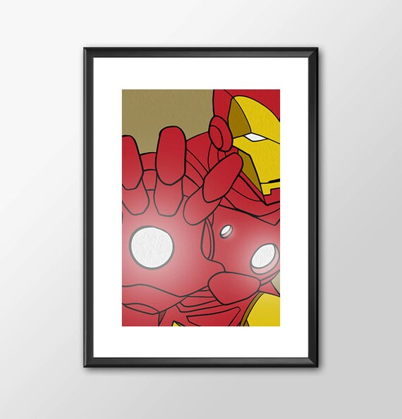 Iron Man - Superhero Tribute Classic Comic style for the Big Boys Geek kids man cave nerds bedroom office nursery superhero marvel