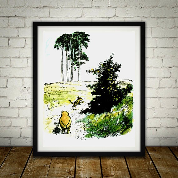 Winnie The Pooh Traditional Artwork kids bedroom office nursery old style