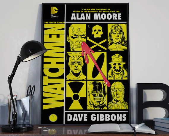 The Watchmen - Classic Comic Book Cover Art Cover for the Big Boys Geek man cave nerds bedroom office kids superhero dc comics