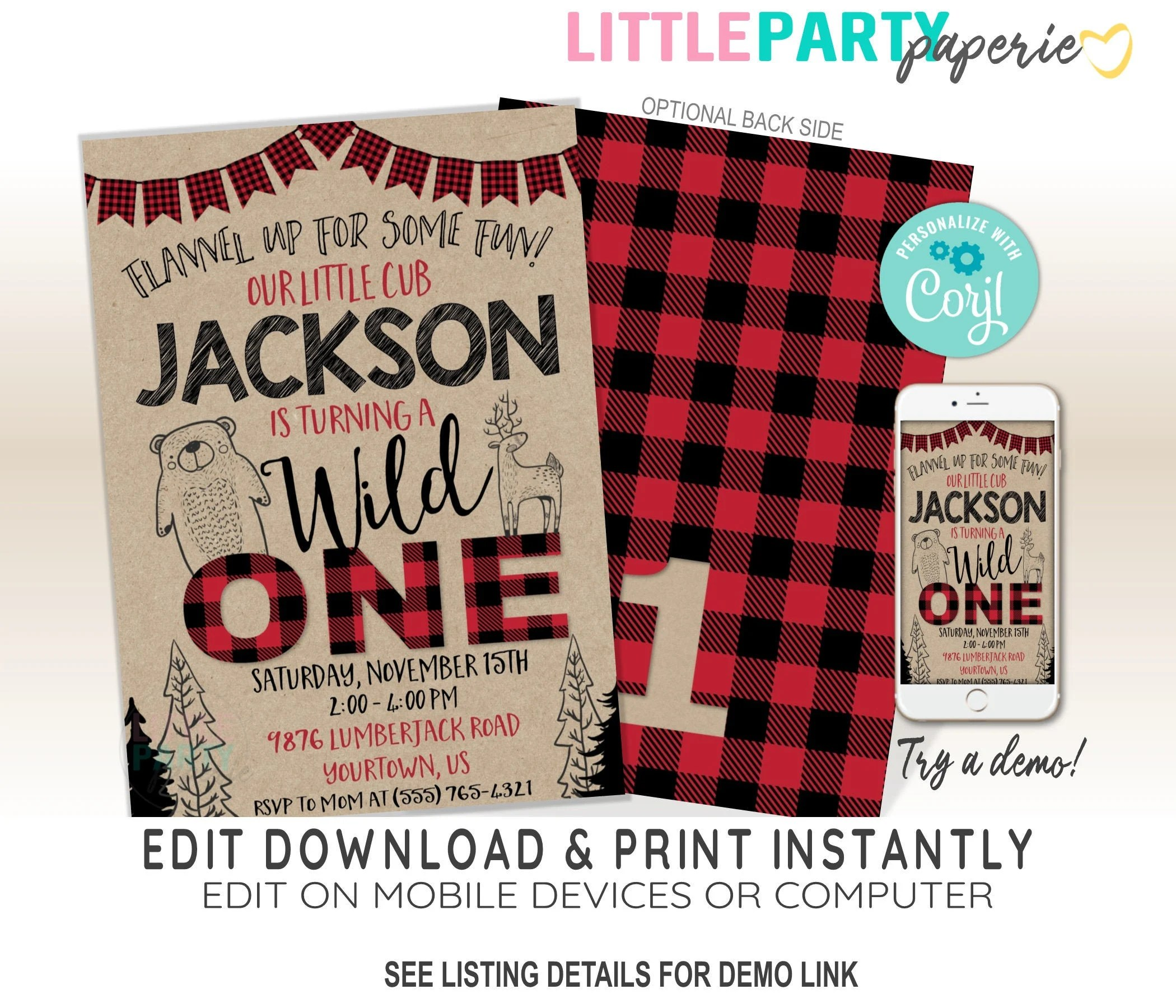 editable lumberjack first birthday