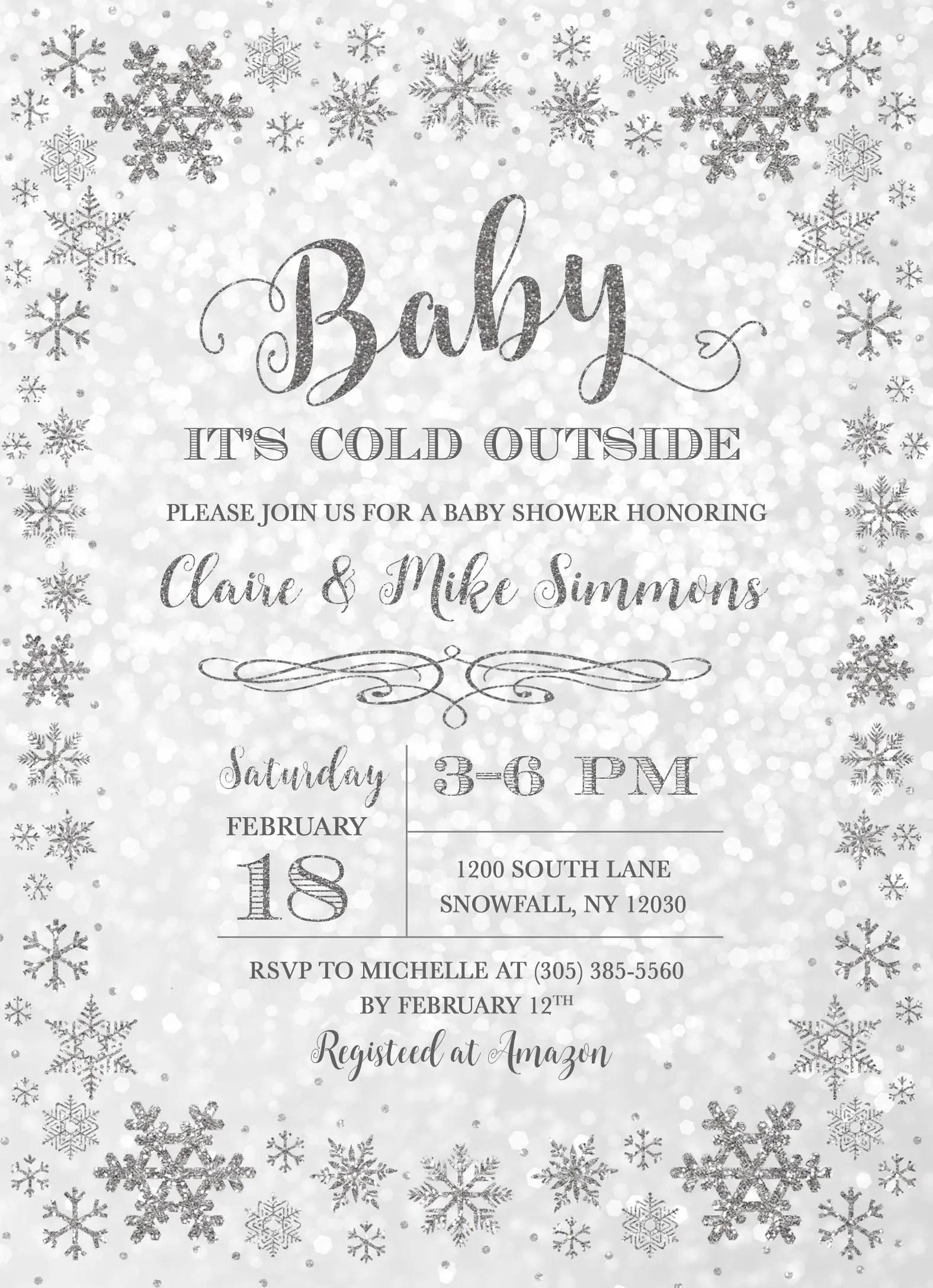 Winter Wonderland Baby Shower Invitation Baby It S Cold