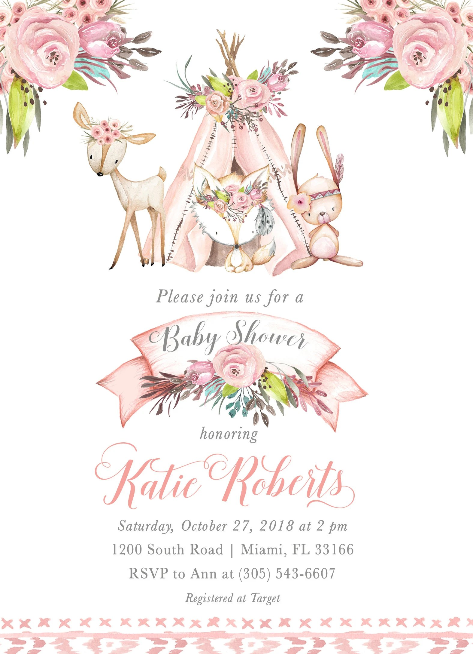 Baby Shower Invitations Boho