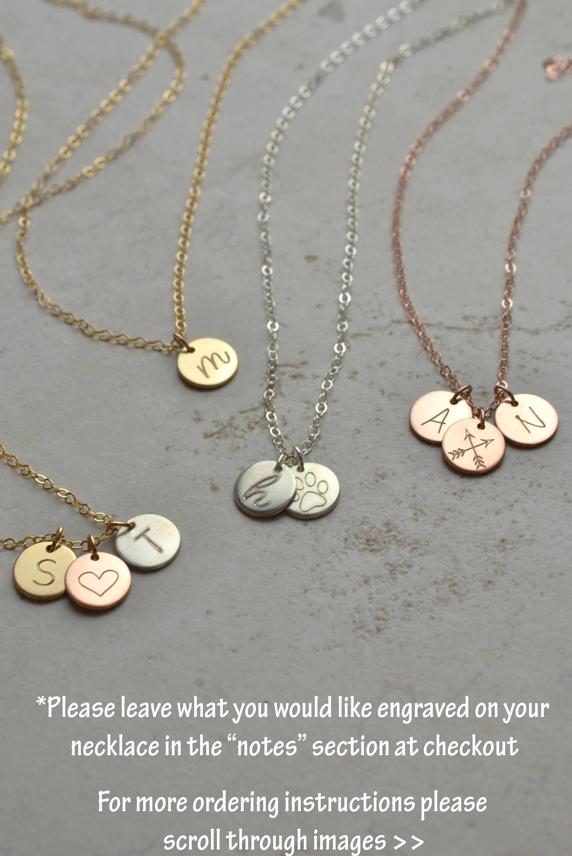 Initial necklace disc necklace gift for mom gift for new image 5