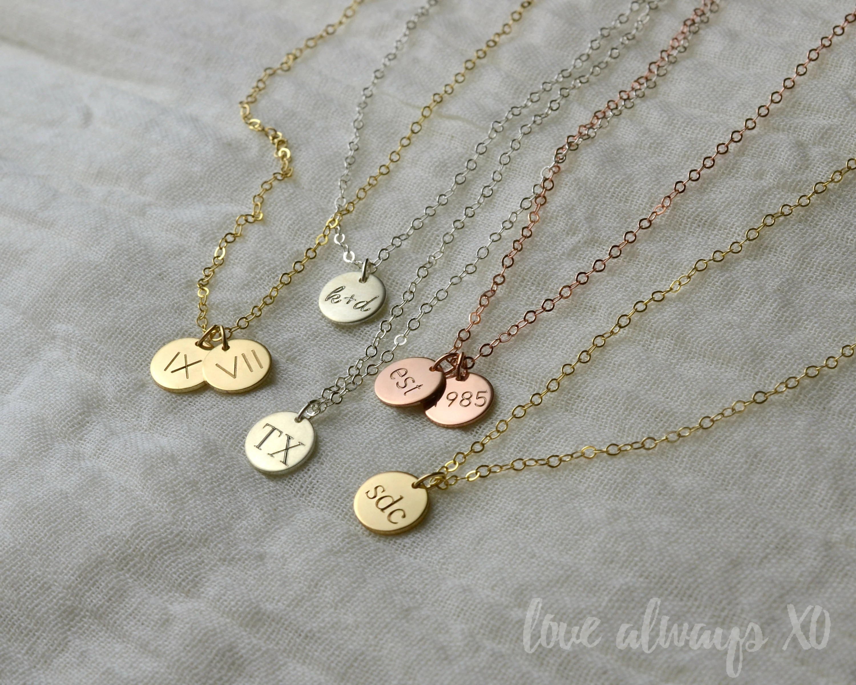 Initial necklace disc necklace gift for mom gift for new image 1