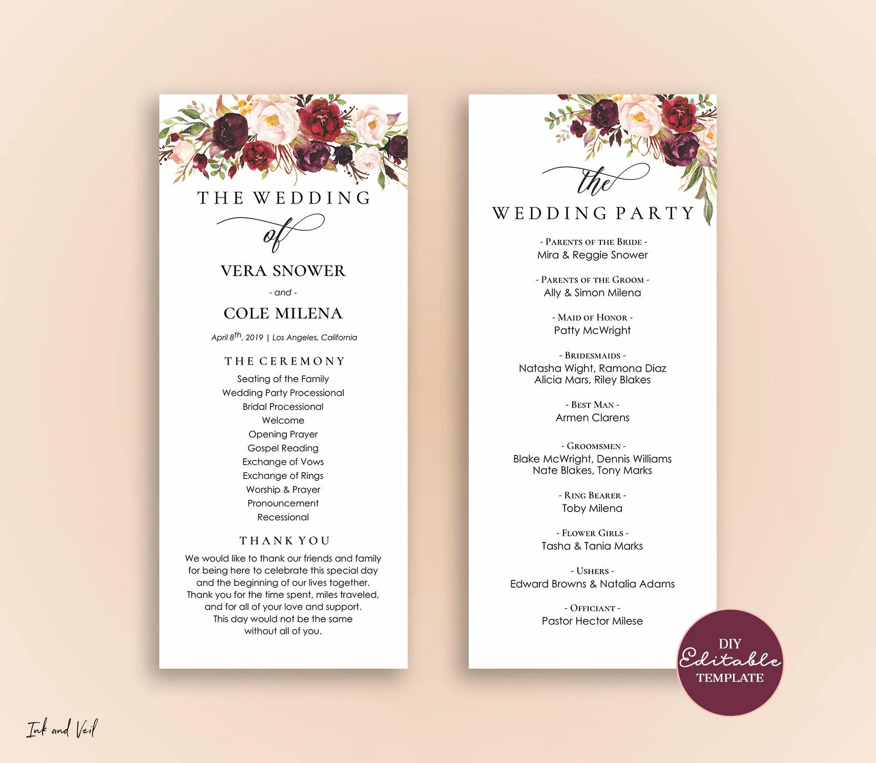 Editable Wedding Program Template Order Of Ceremony Template Etsy