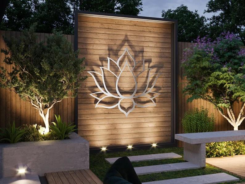 Lotus Flower Large Outdoor Metal Wall Art Garden Sculpture ... on Backyard Metal Art id=25954