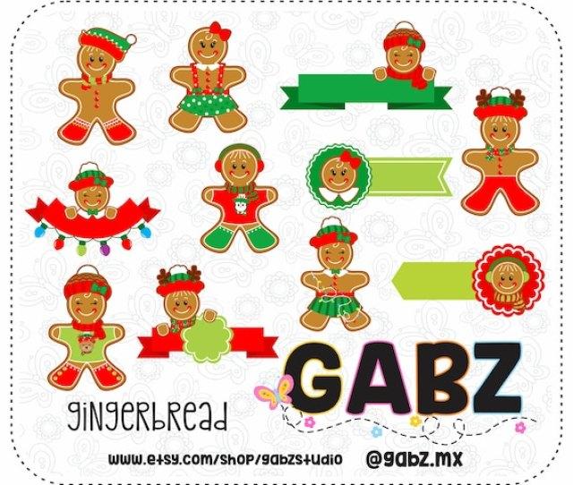 Gingerbread Clipart Banner Holidays Merry Christmas Frames Gabz