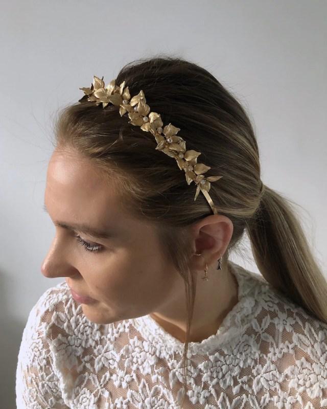 gold bridal hair piece, gold flower head band, wedding headpiece, gold hair accessory, flower hair tiara, gold leaf hair vine bridal