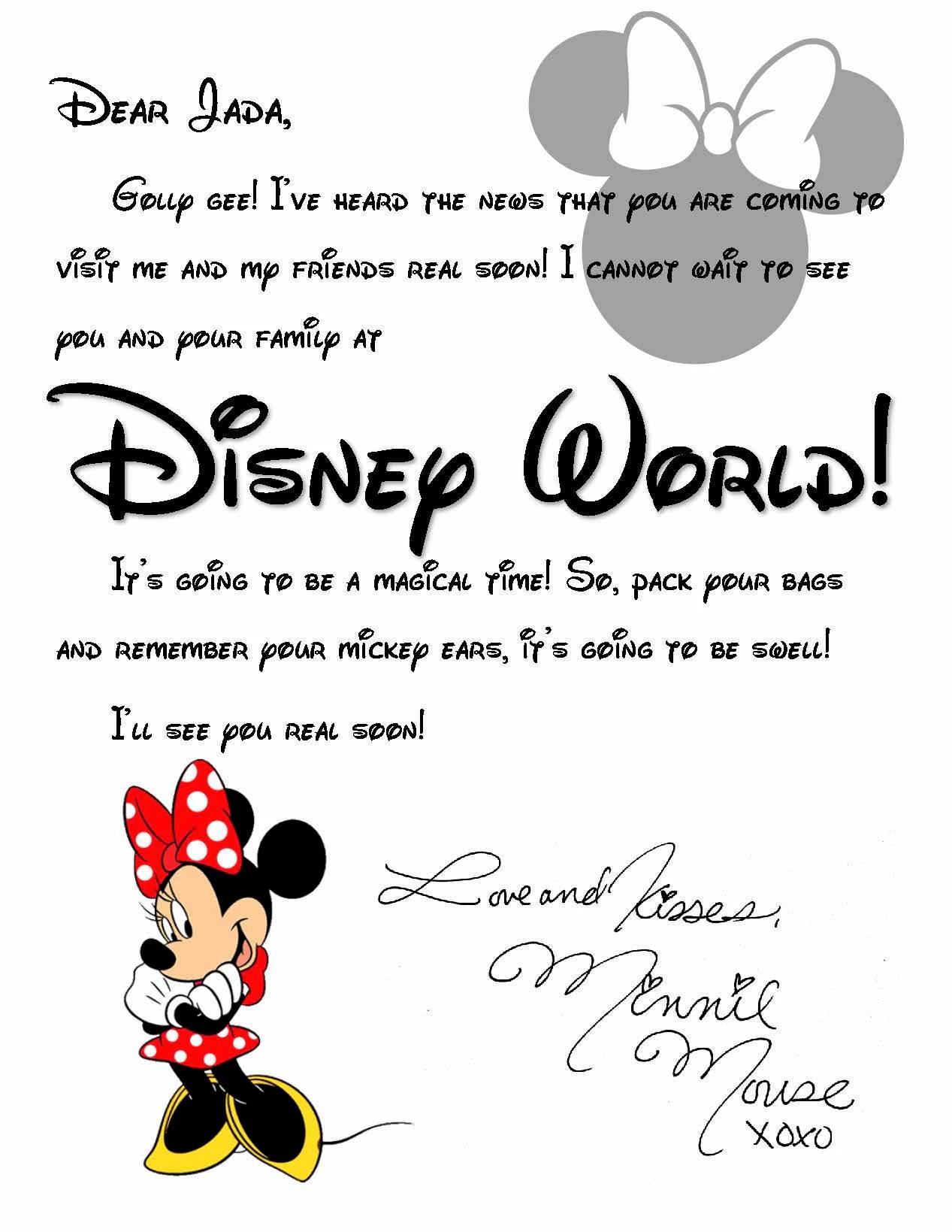 Custom Disney World Letter From Minnie Invitation To
