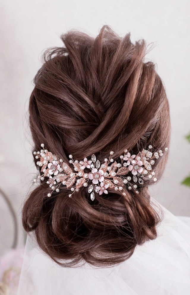 rose gold wedding hair accessories blush bridal hair piece wedding headband crystal hairpiece rhinestone headpiece flower bridal headpiece