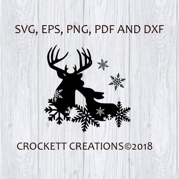 Download Winter Deer Love Svg Pdf Png Eps and Dxf Digital File | Etsy