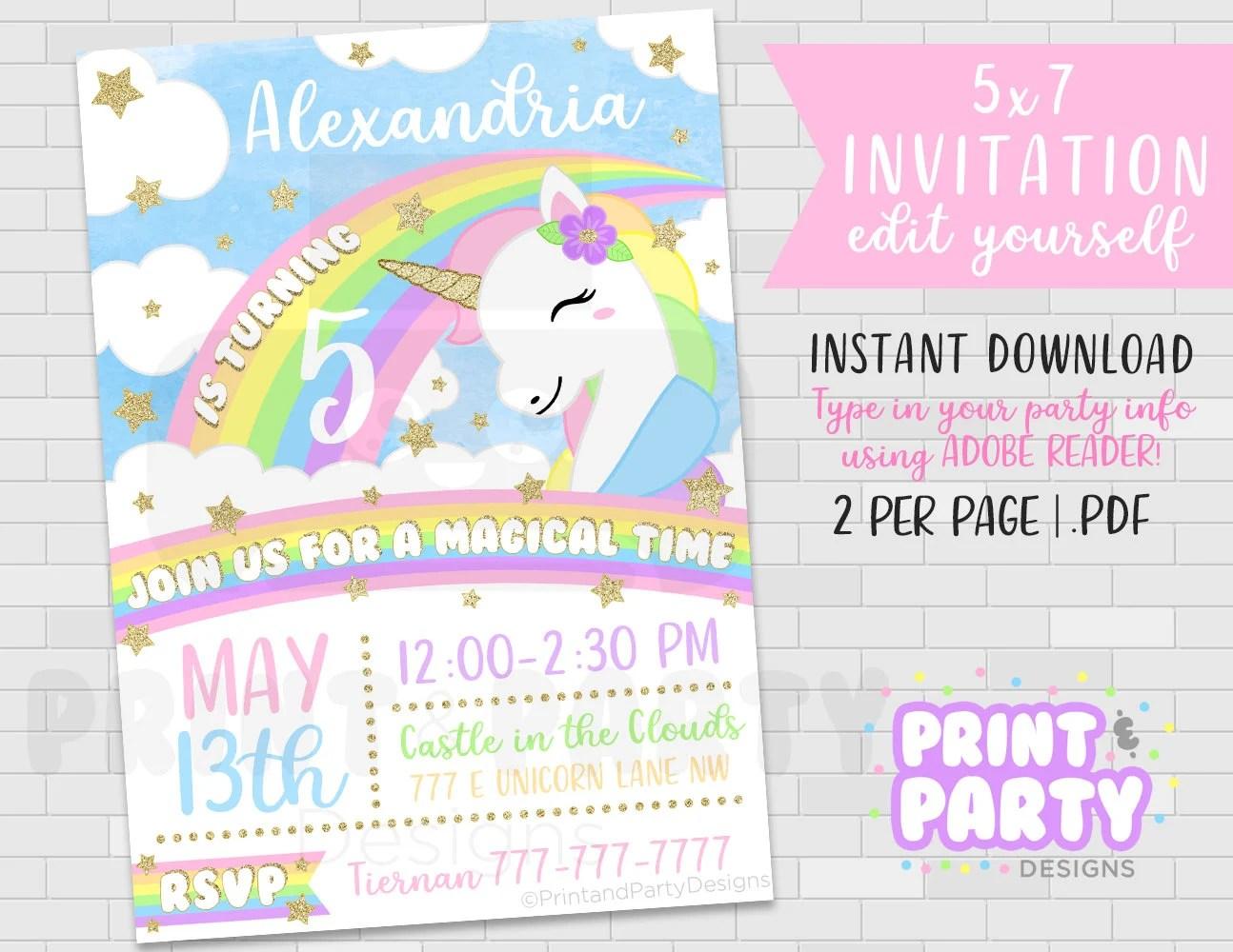 printable unicorn invitation unicorn