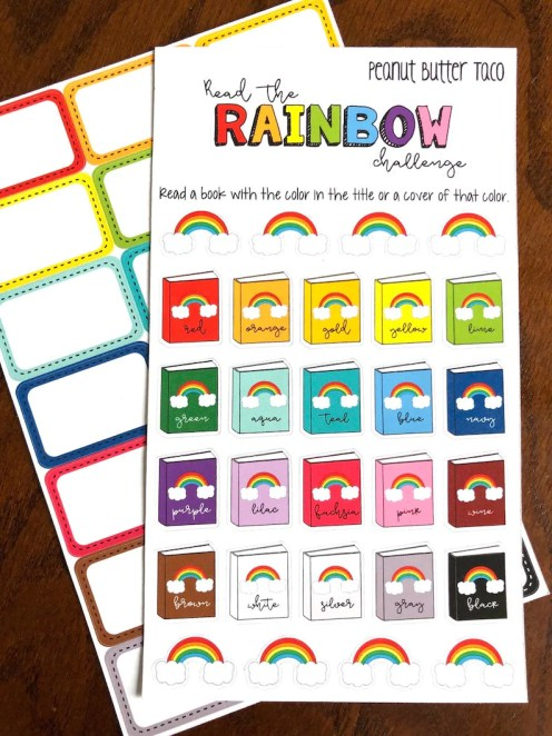 Read the Rainbow  Reading Challenge Planner Stickers