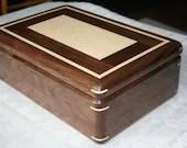 American Walnut Figured Maple Wood Jewelry Box, Wood Jewelry Box, 5th Anniversary Gift, Wooden Jewelry Box, Jewelry Box Organizer, . 88RW