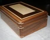 Jewelry Box, Wood Jewelry Box, 5th Anniversary Gift, Wooden Jewelry Box, Jewelry Box Organizer, American Walnut and Figured Maple Wood. 85RW