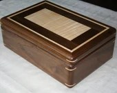Wood Jewelry Box, American Walnut and Figured Maple, Wooden Jewelry Box, 5th Anniversary Gift for Her, Jewelry Box Organizer, . 115RW