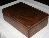 Wood Jewelry Box, 5th Anniversary Gift for Him, Wooden Jewelry Box, Jewelry Box Organizer, American Walnut Wood Box. 65W