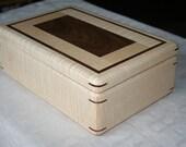 Figured Maple and Walnut Trim Jewelry Box, Wood Jewelry Box, 5th Anniversary Gift, Wooden Jewelry Box, Jewelry Box Organizer. 3RM