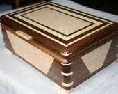 Walnut and Figured Maple and Wood Jewelry Box, 5th Anniversary Gifts, Jewelry Box, Jewelry Storage Box. Signature Series. 54DW