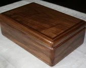 Wood Jewelry Box, Men's Accessories Organizer, High Quality Handcrafted American Walnut Wooden Box, 2 Tray Dresser Valet, Gift for Him 66W