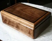 Jewelry Box, Wood Jewelry Box, 5th Anniversary Gift, Wooden Jewelry Box, Jewelry Box Organizer, American Walnut and Wenge Trim Box. 4WB