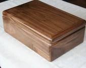Wood Jewelry Box, 5th Anniversary Gift for Him, Wooden Jewelry Box, Jewelry Box Organizer, American Walnut Wood Box. 60W