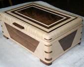 Figured Maple and Walnut Wood Jewelry Box, 5th Anniversary Gifts, Jewelry Box, Keepsake Box, Jewelry Storage Box. Signature Series. 45DM