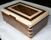 Wood Jewelry Box, 5th Anniversary Gift, Wooden Jewelry Box, Jewelry Box Organizer,  Walnut and Maple Wood Box. 53WM