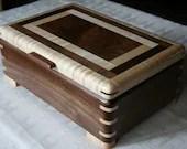 Jewelry Box, Wood Jewelry Box, 5th Anniversary Gift, Wooden Jewelry Box, Jewelry Box Organizer,  Walnut and Maple Wood Box. 55WM