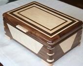 Wooden Jewelry Box, Walnut and Maple Wooden Jewelry Box, 5th Anniversary Gifts, Jewelry Box, Jewelry Storage Box. 63DW