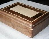 Wooden Jewelry Box, American Walnut and Figured Maple, Traditional Wooden Jewelry Box, 5th Anniversary Gift, Jewelry Box Organizer, . 111RW