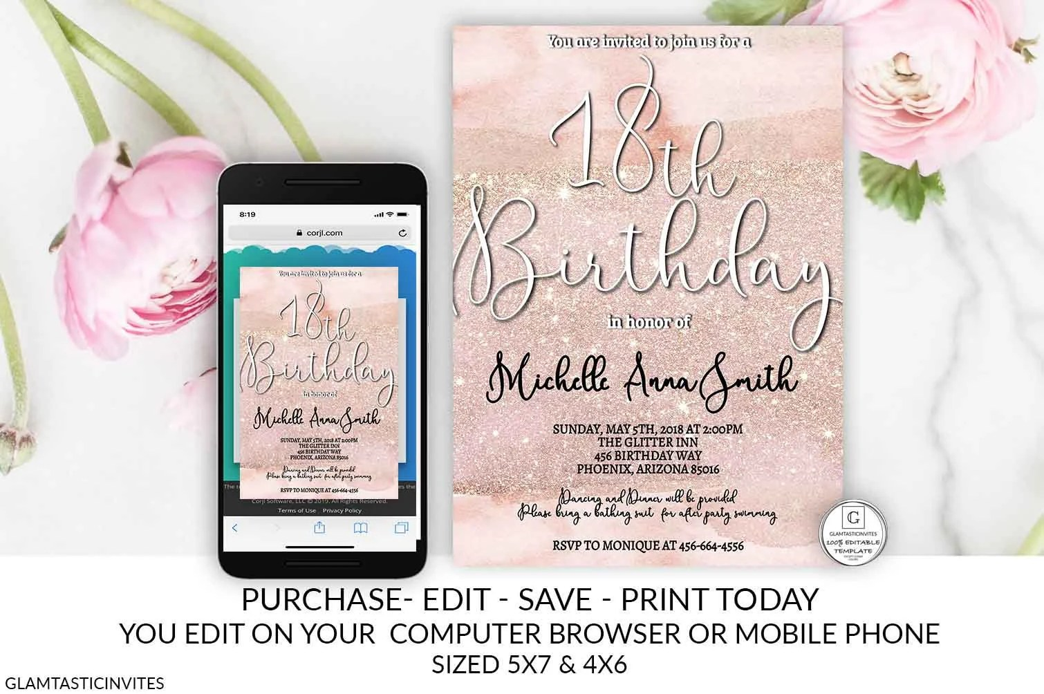 rose gold 18th birthday invitation