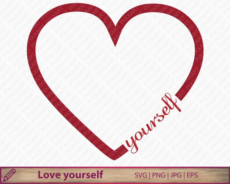 Download Love yourself svg self love heart clipart self confident ...