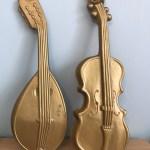 Vintage Royal Metal Wall Art Mandolin Violin Musical Instrument Wall Decor
