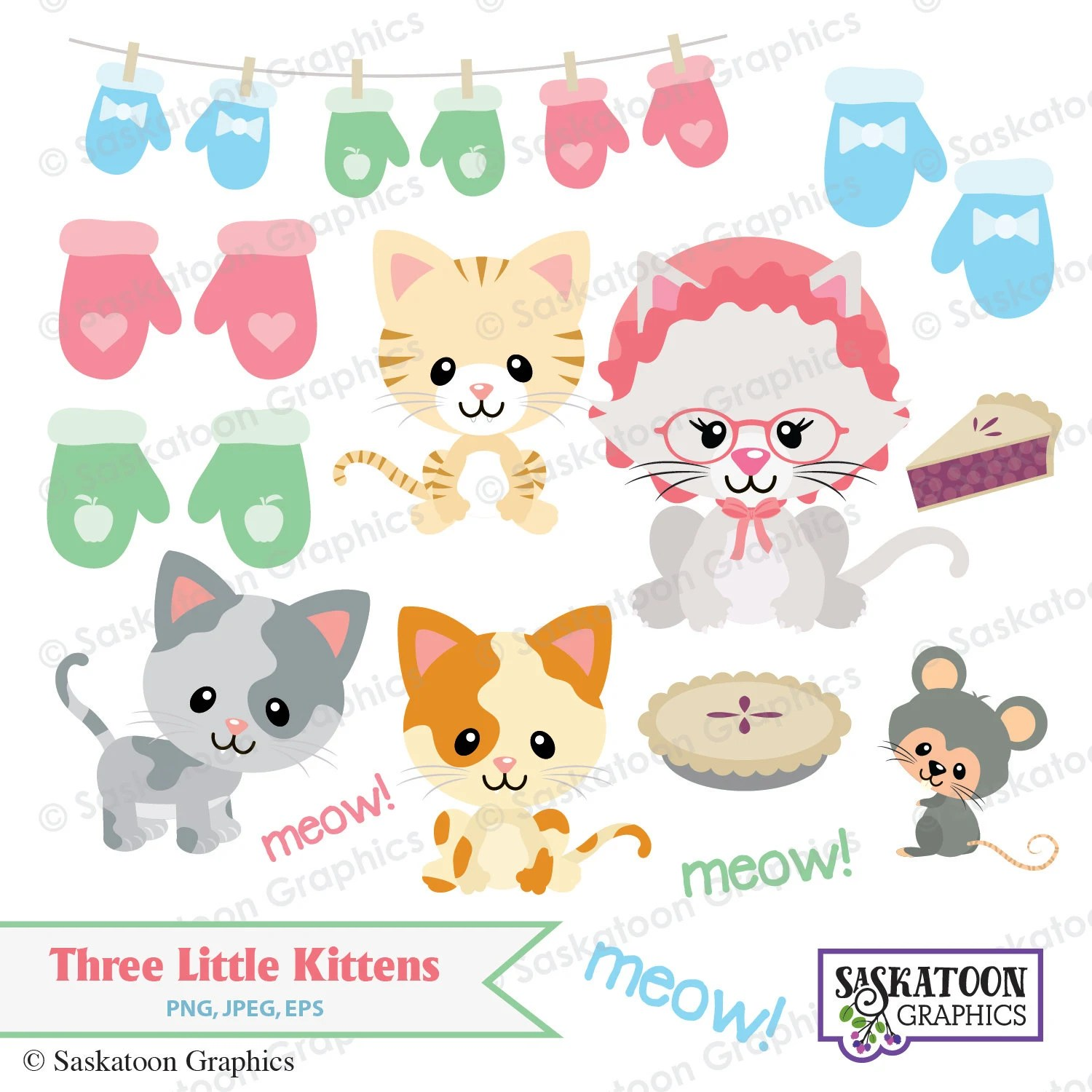 Three Little Kittens Lost Their Mittens Clipart Instant