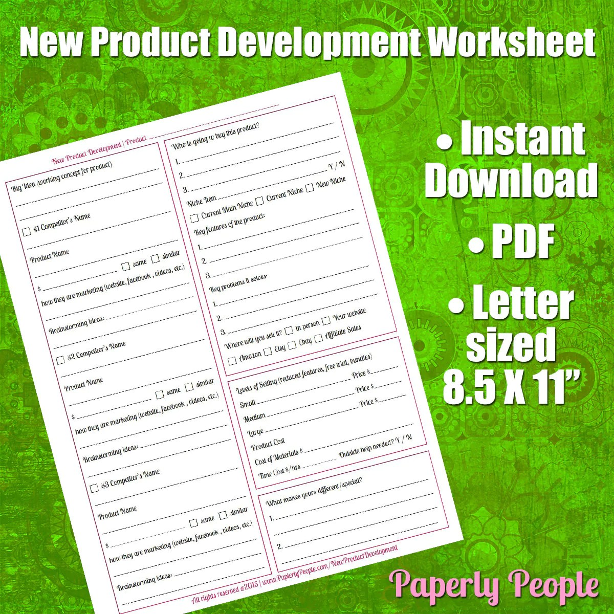 Product Development Worksheet Scope Out New Product Ideas