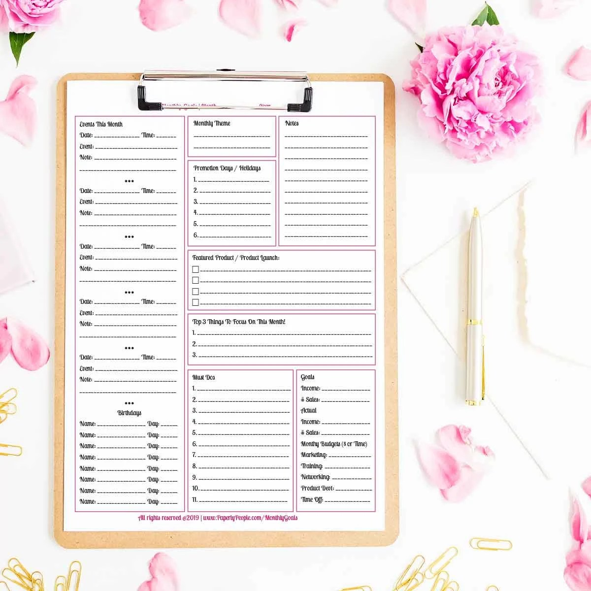 Monthly Business Goals Printable Planner Sheet Todo List
