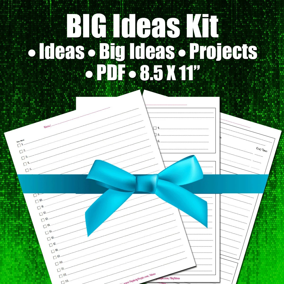 Big Ideas Kit Printable Planner Worksheets Business