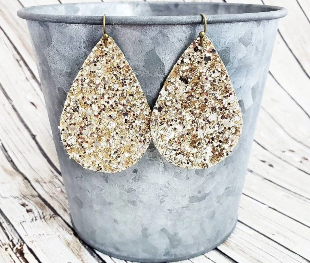 Gold Glitter Earrings Teardrop Earrings Glitter Teardrop Earrings Sparkly Earrings Gold Earrings