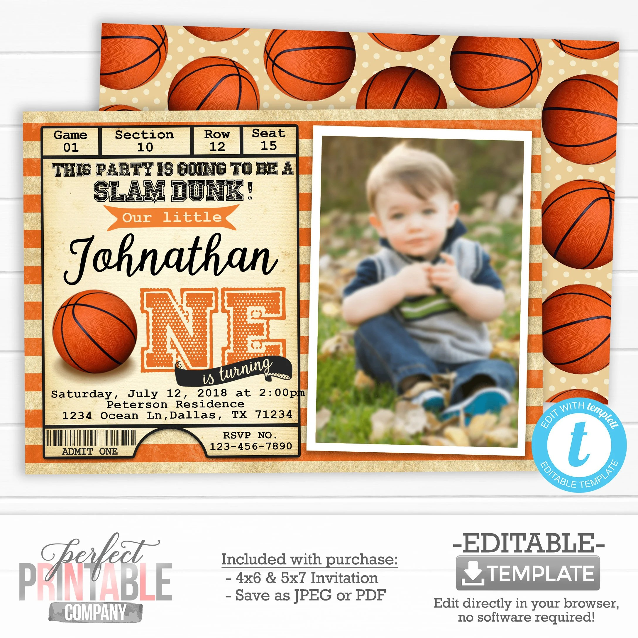 basketball birthday party invitation basketball ticket invitation basketball invite basketball photo invitation editable templett 547