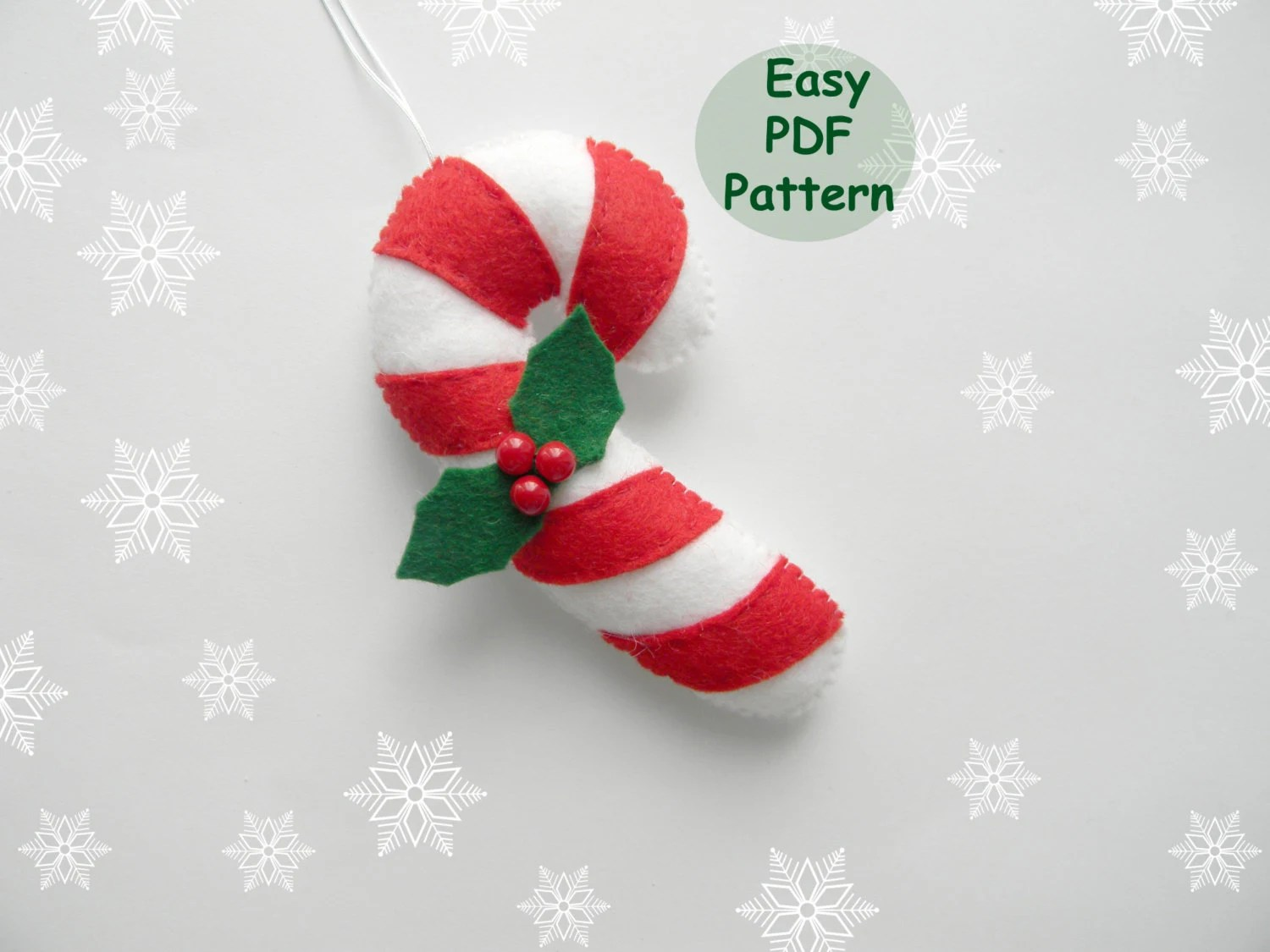 Pattern Candy Cane Easy Christmas Ornaments Pattern