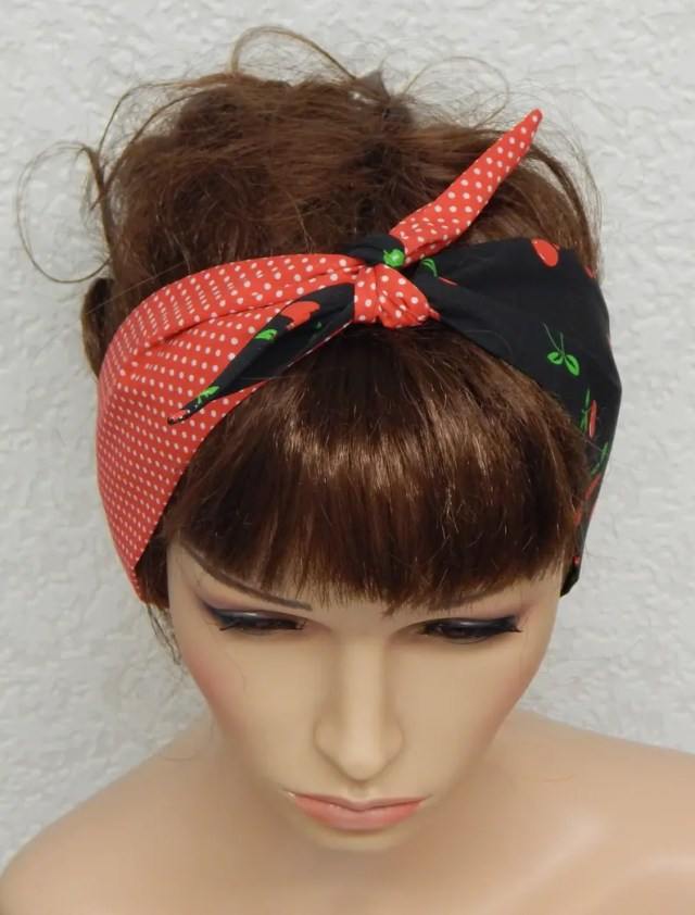 retro self tie headband rockabilly tie up hair scarf 50's head scarf bandanna women's hair scarf pin up head accessories
