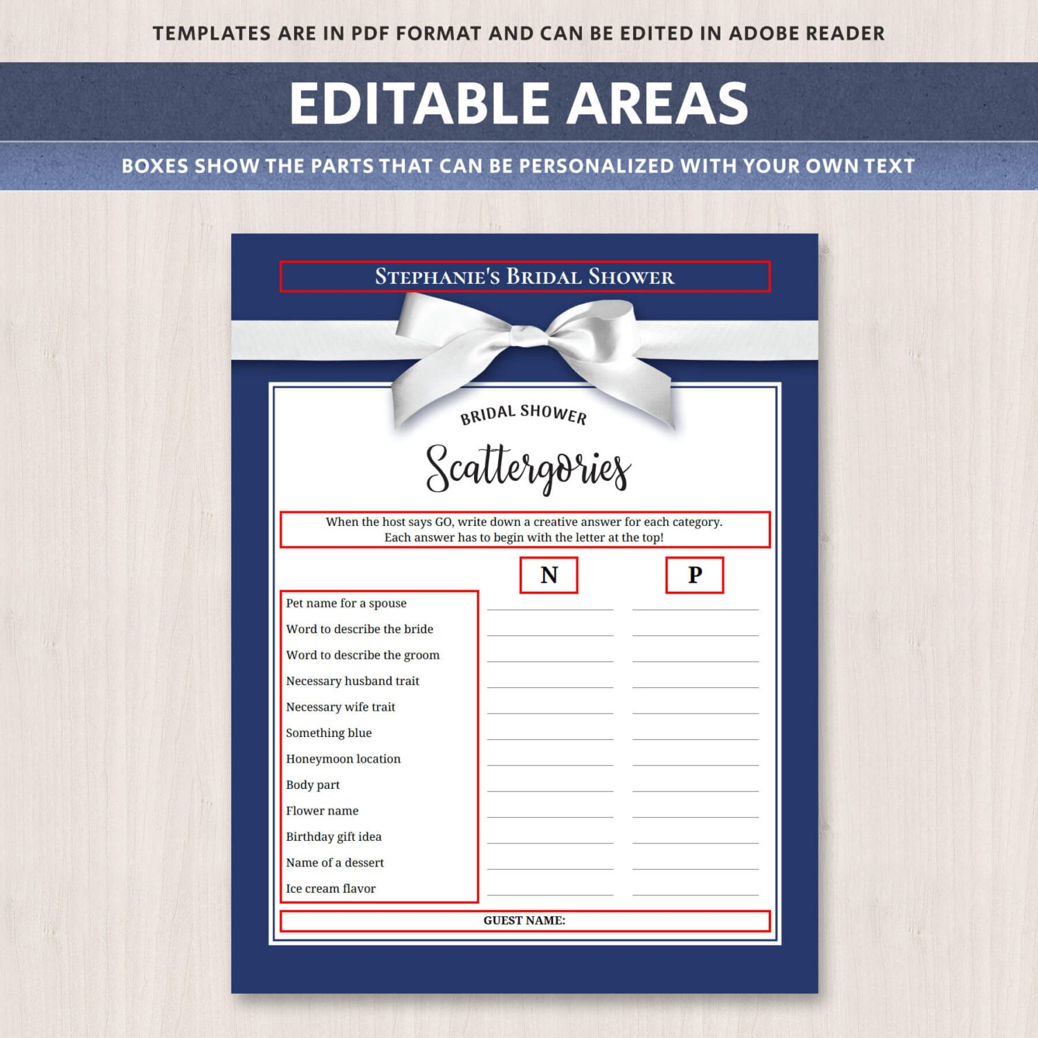 Scattergories Bridal Shower Game Printable Text Editable