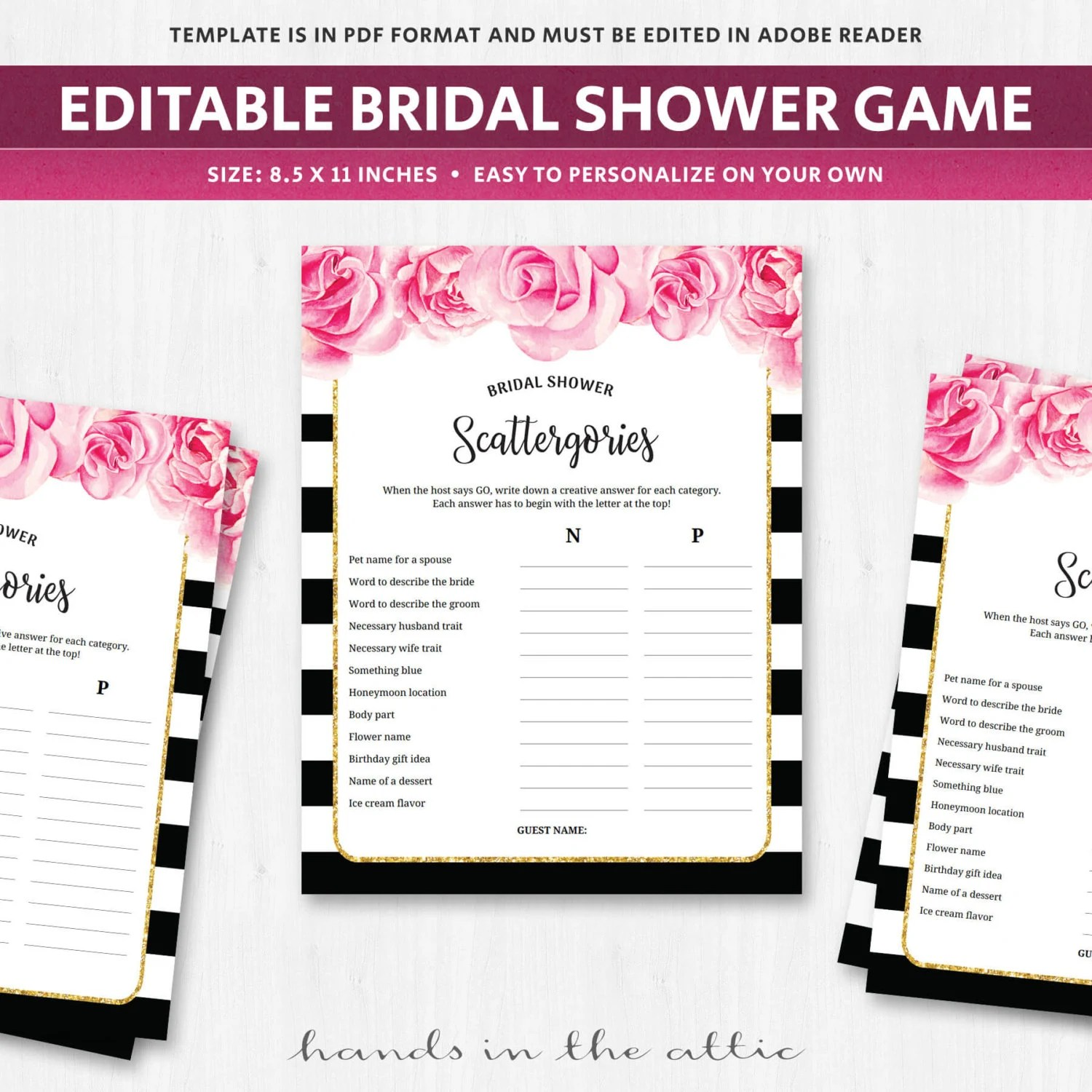 Bridal Scattergories Categories Game Deep Pink Fuschia