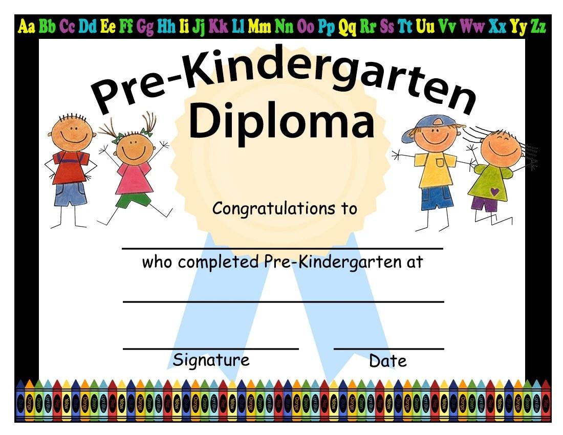 Pre Kindergarten Graduation Diplomas Blank Graduation