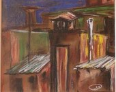 Decorative Painting, City rooftops, Pastel on Colored Paper, Passe-partout,F ramed