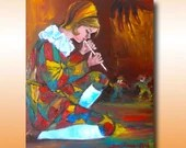 Decorative Painting, Mural Painting, Puppeteer, Flute Player, Fairy Tales, Oil on Canvas, Knife