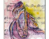ACEO Card, Original Watercolor and Hand Painted Artwork, Greeting Card, After the performance, Ballet,Music